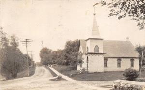 New London Minnesota~English Presbyterian Church & Street Scene~c1910 RPPC