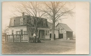 East Bolton-Magog PQ Mary Peasley~Home w/Steep Mansard Roof~Barn Close~RPPC 1911