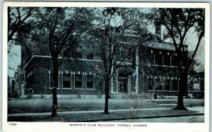 Topeka, Kansas Postcard WOMAN'S CLUB BUILDING Street View Walraven c1930s