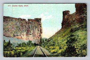 Castle Gate UT-Utah, Scenic Rock Formation, Railway, Vintage Postcard