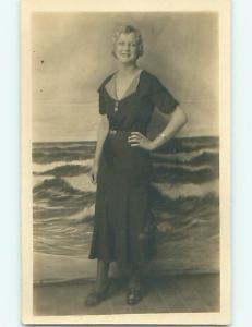 Pre-1949 rppc PRETTY BLOND BOMBSHELL GIRL WITH SHORT HAIR r6227