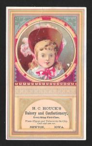VICTORIAN TRADE CARD Houck's Bakery Girl in Bonnet