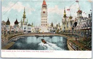 c1910s CONEY ISLAND New York Postcard Lagoon at Foot of Chutes, LUNA PARK