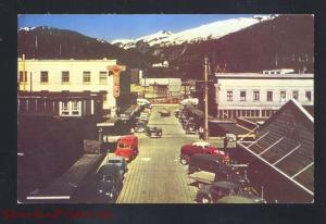KETCHIKAN ALASKA DOWNTOWN MAIN STREET SCENE 1950's CARS OLD VINTAGE POSTCARD