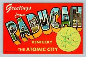 Paducah KY- Kentucky, Large Letters, General Greetings, Chrome Postcard