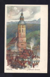 BADEN BADEN GERMANY KATH KIRCHE ANTIQUE VINTAGE POSTCARD