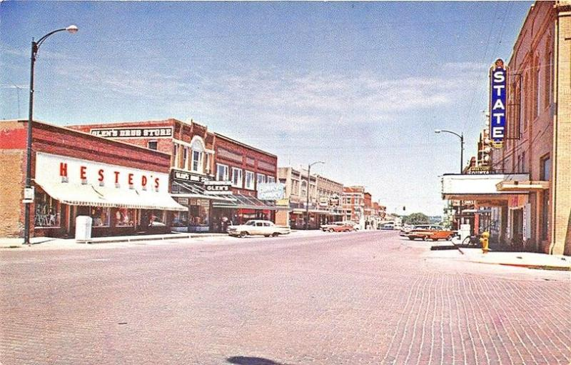 Auburn NE State Theatre Movie Marquee Hested's Storefronts Old Cars Postcard