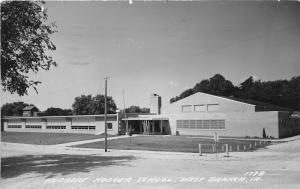 West Branch Iowa~Herbert Hoover School~Tiny Tree in Front Yard~1965 RPPC