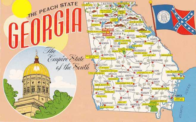 Map Of Georgia The Peach State GA HipPostcard - Map of georgia united states