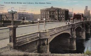 Iowa Des Moines Locust Street Bridge and Library 1916 Curteich