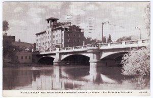 St. Charles, Illinois, Hotel Baker and Main Street Bridge from Fox River
