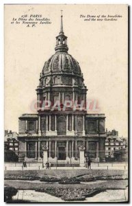 Old Postcard The Paris Invalides Dome and the new gardens