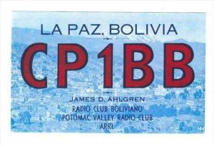 La Paz , Bolivia, QSL postcard, 40-50s