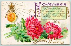 Gem Birthday Series November~Pink Mums~Topaz Brooch~Gold Embossed~1908 E Nash
