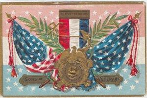 Sons of Veterans Veteran's Medal, U. S Flags, Olive Leaves, PU-1909