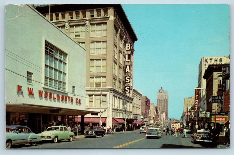 Postcard AR Little Rock c1950s Main Street View Downtown Old Cars Woolworth F24