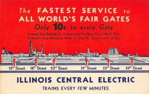 LP53 Chicago World's Fair Advertising Illinois Central Electric Blank Back