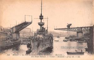 Military Battleship Postcard, Old Vintage Antique Military Ship Post Card Bre...