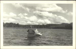 Canoe Canoeing - Probably Maine Old Real Photo Postcard #2