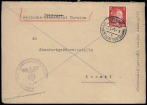 Germany 1943 WWII Occupied Ukraine KAMENSKOJE Dienstpost Cover 84764