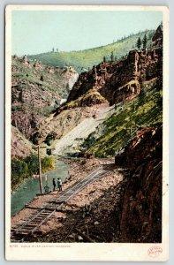 Eagle River Canyon Colorado~Men at Railroad Track Switch~c1910 Detroit Pub Co