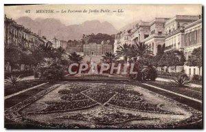 Old Postcard Menton Parterres Du Jardin Public