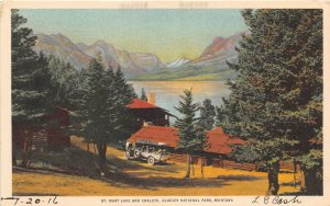 F48/ Glacier National Park Montana Postcard 1916  Lake St Mary Chalet 2