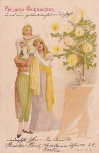 CHRISTMAS: Family decorating Tree; 1901;  Frohliche Weihnachten!