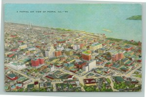 Peoria Illinois~Aerial View Downtown~City Skyline along Waterfront~1940s Linen