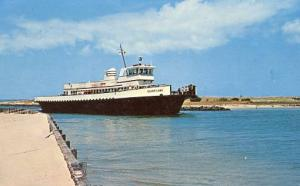 NC - Outer Banks. Silver Lake Ferry entering Ocracoke from Cedar Island