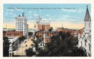 C92/ Savannah Georgia Ga Postcard c1915 Top of State Bank Birdseye View