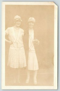 RPPC~1920s Flapper Wannabees~Long Pearl Necklace~Calves Showing~Small Hats PC