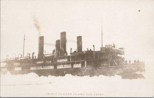 Prince Edward Island Car Ferry Ship Ice Unused Real Photo Postcard E70