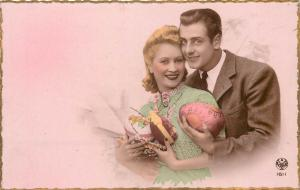 easter photo postcard couple lovers amoureux love amour france