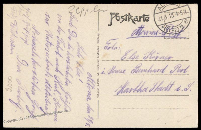 Germany 1918 Zeppelin Airship Hamburg Altona Feldpost Cover Used 79196