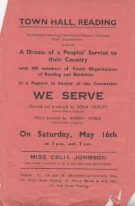 Town Hall Reading Queen Elizabeth II Coronation Youth Theatre Flyer