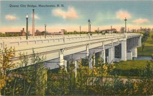 Manchester New Hampshire~Queen City Bridge~Smokestack 1940s Postcard