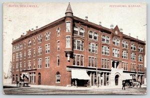 Pittsburg Kansas~Hotel Stillwell~People on Sidewalk~Horse & Buggy~1909