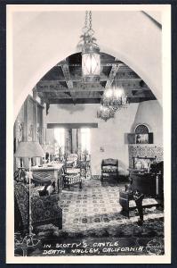 Living Room Scotty's Castle RPPC unused c1940's
