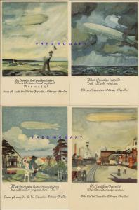1908 Four German Postcards Soliciting Zeppelin-Building Bequests from Public