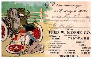 Rhose Island Providence, Fred W. Mprse Co. manuf. Tin Ware