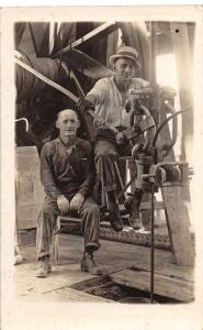 F9/ Occupational Real Photo RPPC Postcard c1910 Interior Rig Crew Cable 23