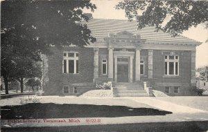 H68/ Tecumseh Michigan Postcard c1910 Public Library Building  147