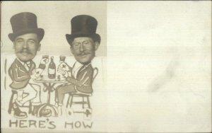 Trick Photography Comic Men Top Hats Playing Cards Drinking Gambling RPPC