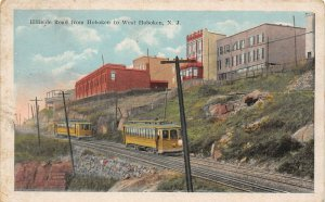 LP37   West Hoboken New Jersey Postcard  Streetcars Hillside Road