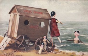 Stick Doll Family at the Beach, 1900-10s; TUCK # 6494