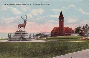 Ellk Monument Juneau Park And North West Depot Milwaukee Wisconsin
