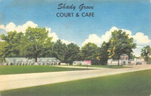 SHADY GROVE COURT & CAFE DeQueen, AR Roadside 1956 Vintage Linen Postcard
