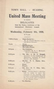 United Mass Madras Missionary India Berkshire Religious Theatre WW2 Programme