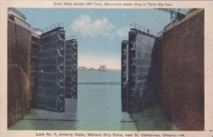 Lock No. 7, Showing Gates, Welland Ship Canal, Near St. Catharines, Ontario, ...